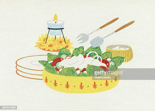 Illustration of a salad course on a table 1957 Screen print