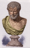 Illustration of a sculptural bust of Greek philosopher Democritus