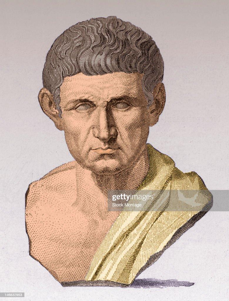Illustration of a sculptural bust of Greek philosopher teacher Aristotle