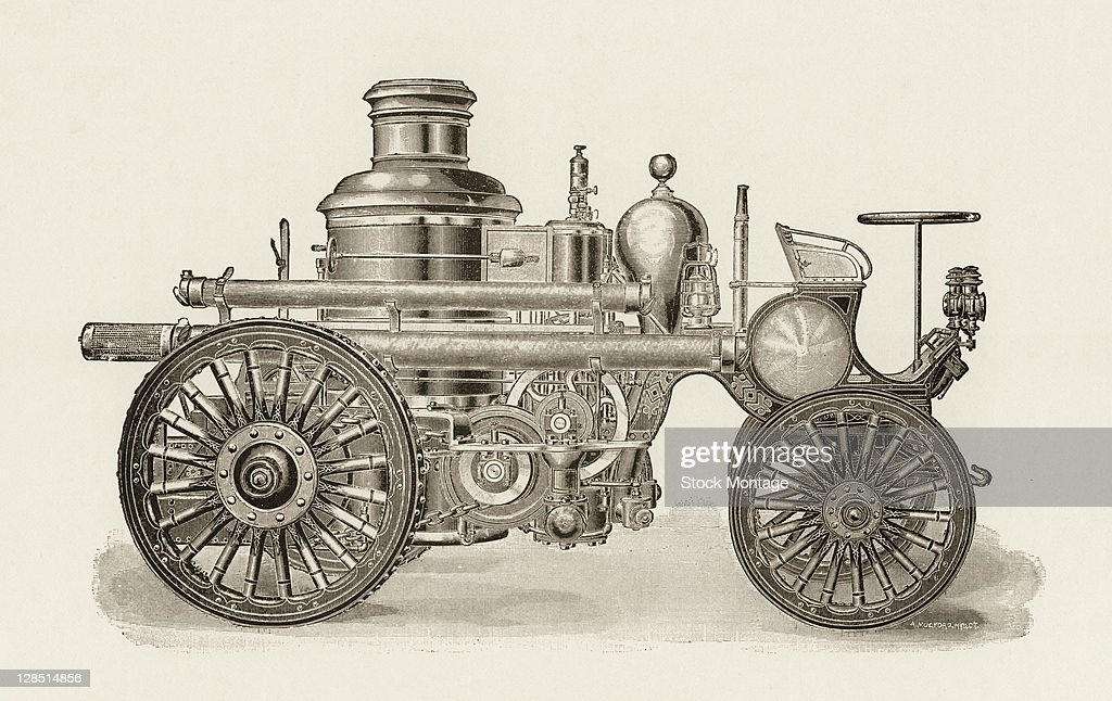 Illustration of a selfpropelled steampowered fire engine 1850s or 1860s