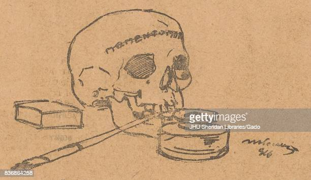 Illustration of a skull with an ink well holding a pen in its mouth from the Russian satirical journal Bich 1917