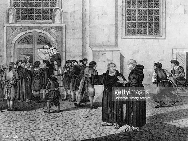 Illustration of a small crowd has gathered to watch as Martin Luther directs the posting of his 95 theses protesting the practice of the sale of...