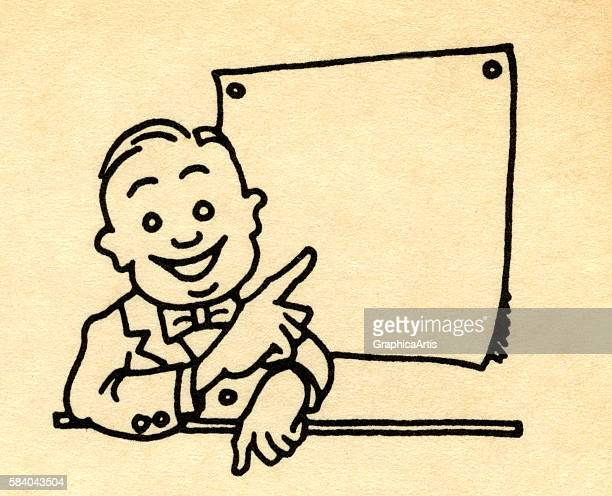 Illustration of a smiling businessman pointing to a blank chart or bulletin board 1920s Screen print