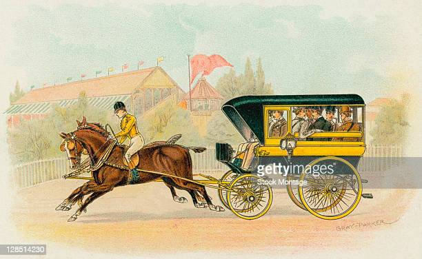 Illustration of a Studebaker Wagonette horsedrawn carriage 1893 The image appears in the Studebaker souvenir book produced for the 1893 World's...