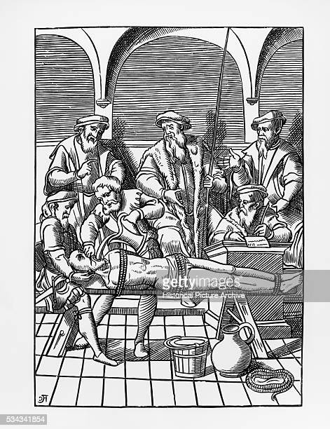 Illustration of a Water Torture Punishment after a 16thCentury Woodcut