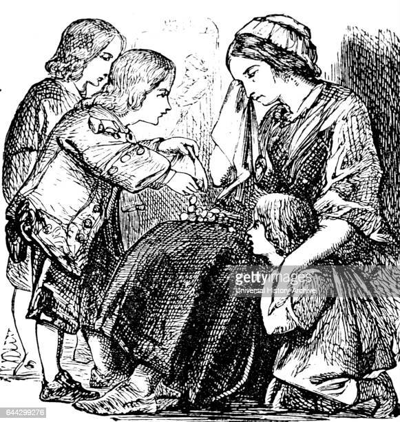 Illustration of a wealthy boy donating money to a mother and child begging on the streets Dated 18th Century
