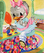 Illustration of a young goose girl applying lipstick at a vanity from the Mother Goose nursery rhyme Goosey Goosey Gander 1942 Screen print