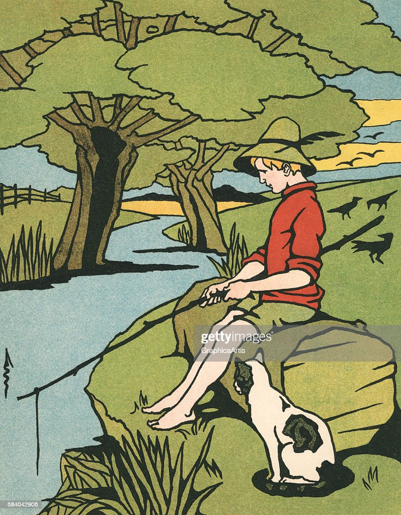 Illustration of a young sitting on a log fishing in a small river in the country with his cat 1909 Woodcut print