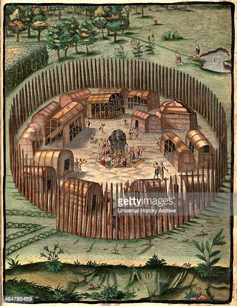 Illustration of Algonkian Indian Village 1587