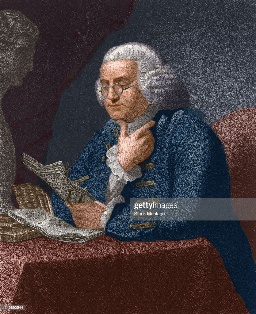 Illustration of American statesman and scientist Benjamin Franklin as he reads at a table late 18th century
