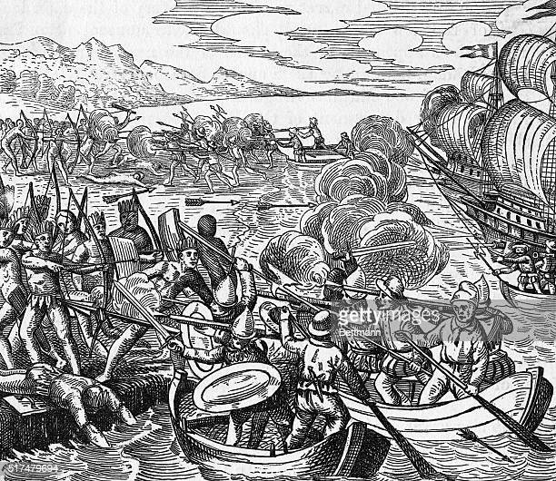 Illustration of Amerigo Vespucci's sailors fighting with Native Americans at the continent Undated illustration