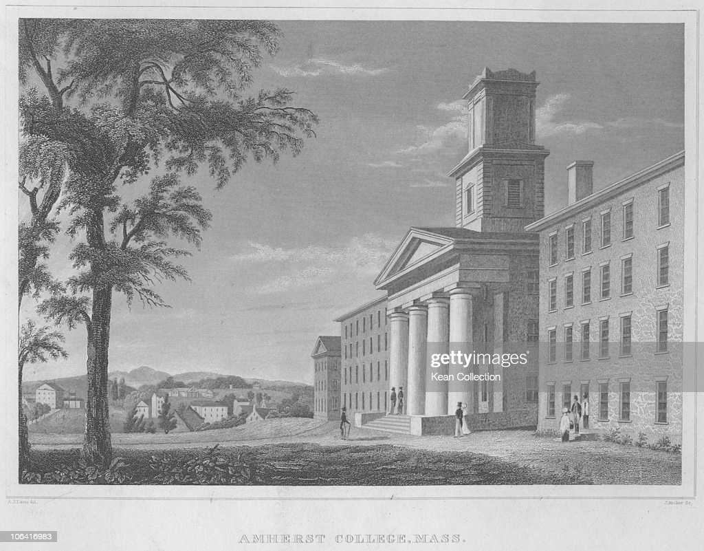 Illustration of Amherst College in Massachusetts circa 1850