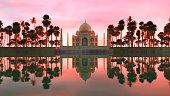 3d illustration of an alternative view of taj mahal