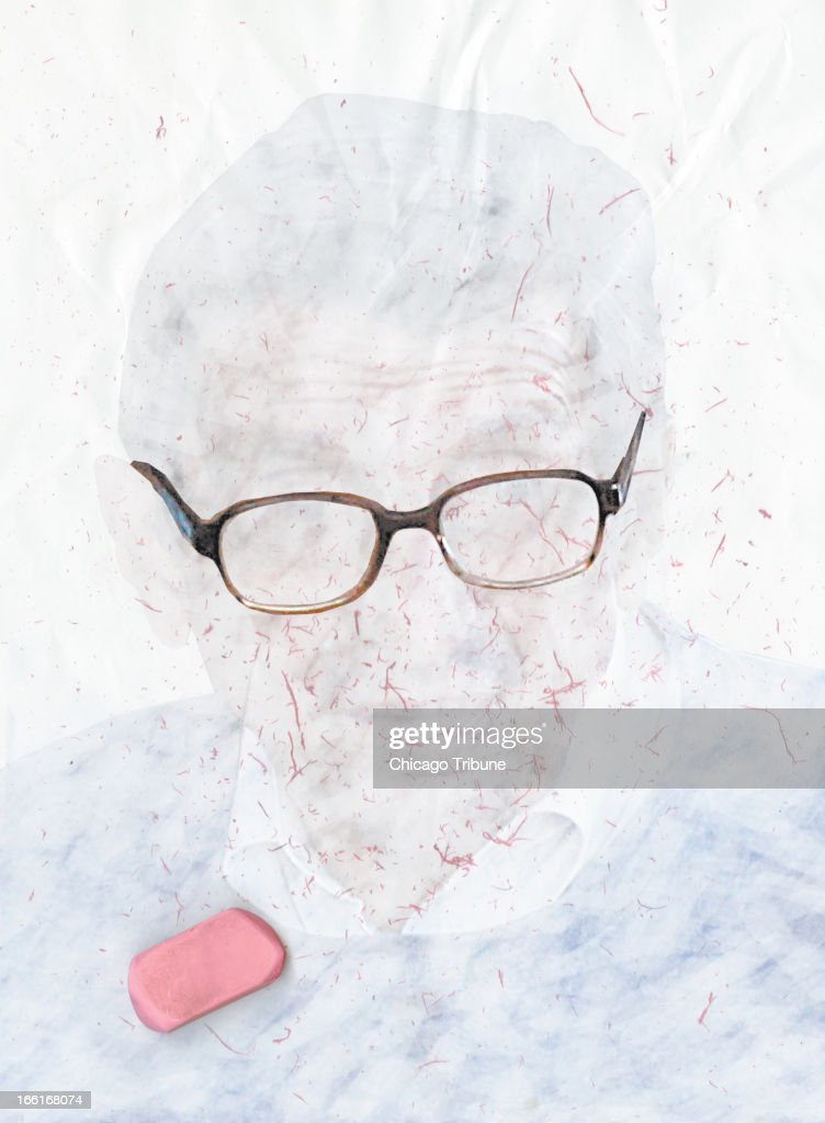 illustration of an eraser rubbing out an image of Joe Paterno, former Penn State football head coach.