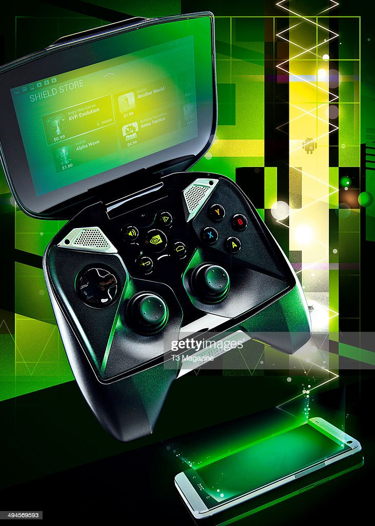 Illustration of an Nvidia Shield controller floating over an Android phone, created on August 27, 2013.