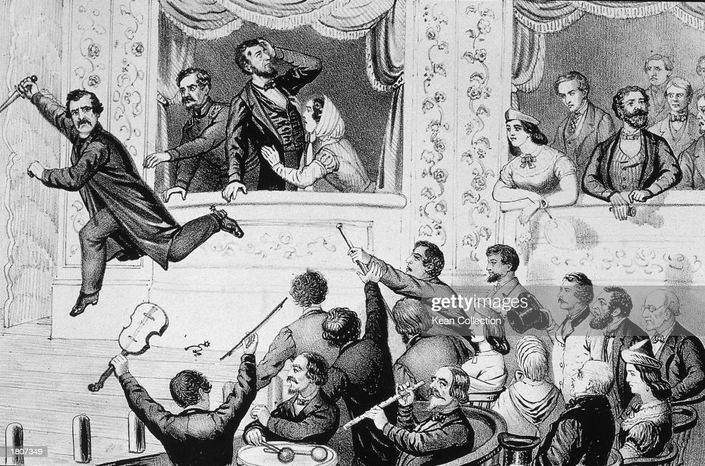 Illustration of assassin John Wilkes Booth running to the stage after shooting Abraham Lincoln at Ford's Theatre Washington DC April 14 1865
