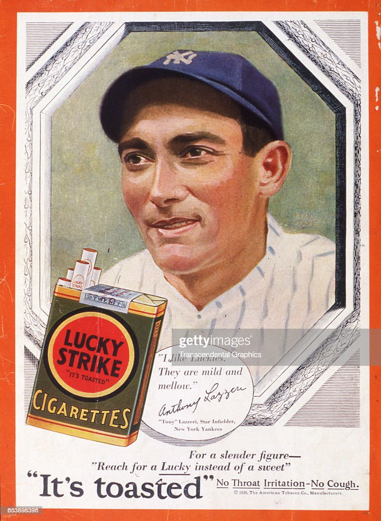 Illustration of baseball player Tony Lazzeri as he advertises Lucky Strike cigarettes, New York, New York, 1928.
