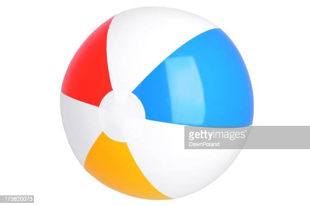 Illustration of beach ball with red, blue and yellow stripes