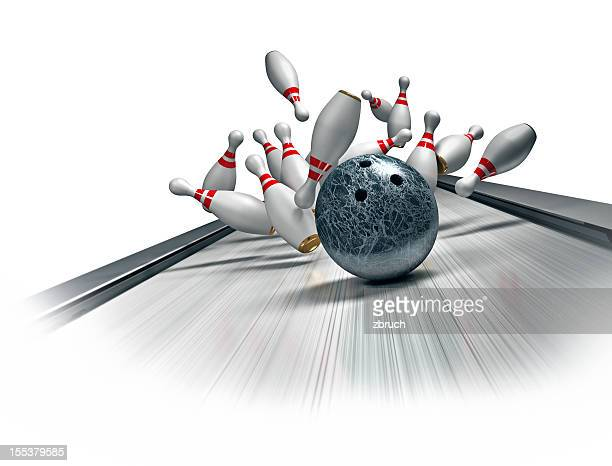 3D illustration of bowling ball hitting a strike