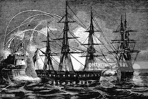 Illustration of British ships attacking the American coast at Fort McHenry Baltimore Maryland September 13 1814
