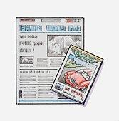 Illustration of broadsheet newspaper, and magazine