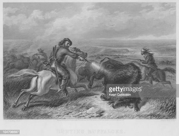 Illustration of buffalo hunting circa 1870
