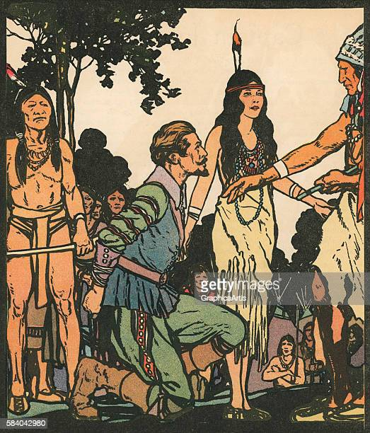 Illustration of Captain John Smith being saved by Pocahontas 1931 Woodcut