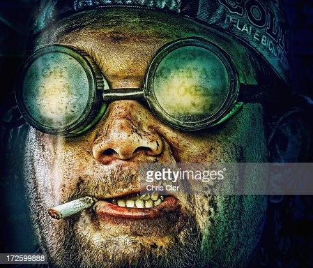 Illustration of Caucasian man in goggles smoking