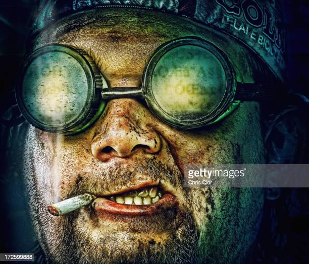 Illustration of Caucasian man in goggles smoking