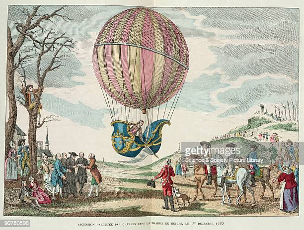 Illustration of Charles and Noel Robert's first manned ascent of a hydrogen balloon designed by French physics professor Jacques Charles and...