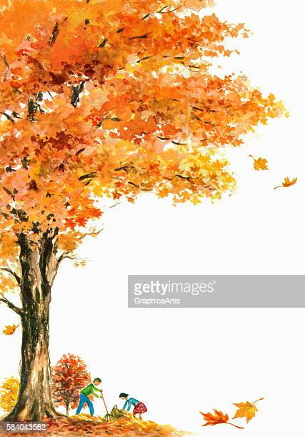 Illustration of children raking golden fall leaves under a large maple tree 1962 Screen print