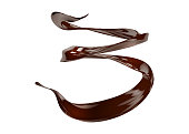 3D Illustration of Chocolate Spiral Jet. Dark Chocolate Liquid Splash Isolated on White. Hot Cocoa Wave in Motion. Background for Advertising, Poster, Promotion.