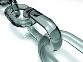 3D illustration of clear chain links