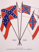 Illustration of Confederate US flag designs from 1861 to 1865