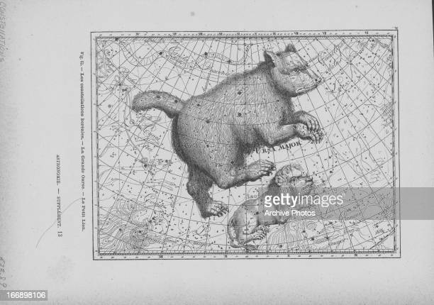 Illustration of constellations Ursa Major and Leo Minor on a map of the night sky including artistic impression of associated mythological forms