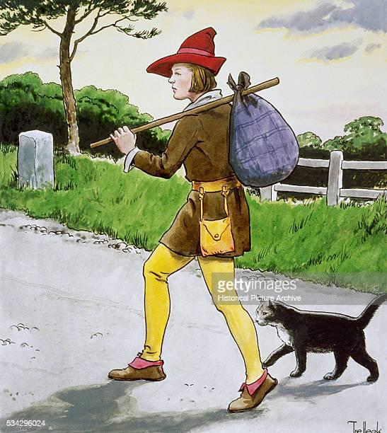 Illustration of Dick Whittington and Cat Walking to London