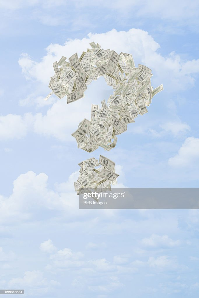 Illustration of dollar bills making question mark in sky
