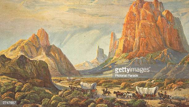 Illustration of early settlers heading to the American West in covered wagons circa 1800s