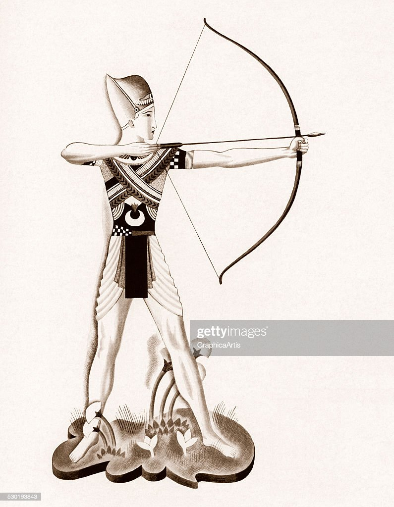 Illustration of Egyptian Pharaoh Ramses the Great aiming a bow and arrow (lithograph), 1931.