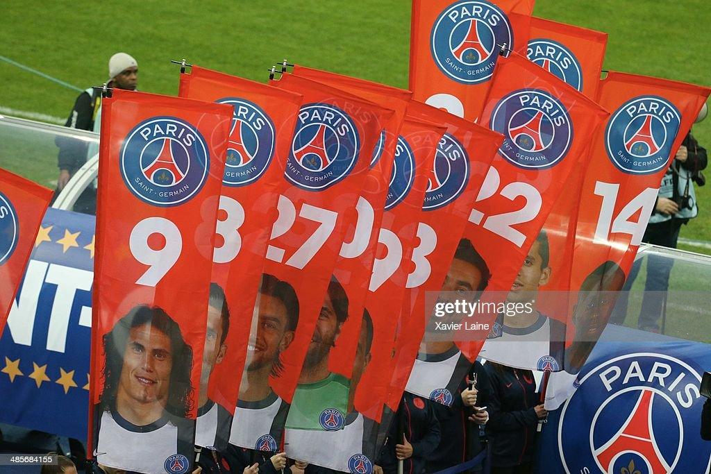 Illustration of flag Paris Saint-germain during the French Finale League Cup between Paris Saint-Germain FC and Olympique Lyonnais FC at Stade De France on April 19, 2014 in Paris, France.