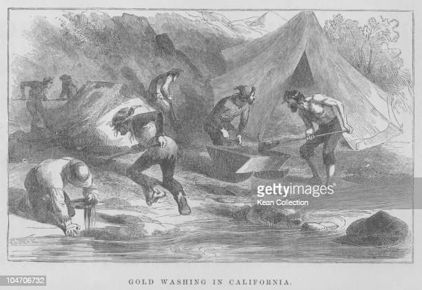 Illustration of gold prospecting in California 1850