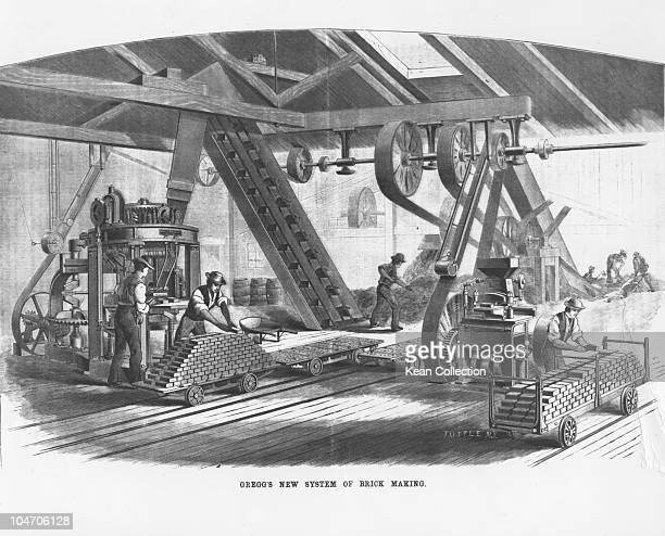 Illustration of Gregg's new system of brick making circa 1882