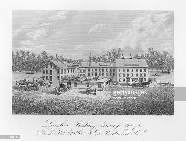 Illustration of H L Fairbrother and Co leather belting factory in Pawtucket Rhode Island circa 1880