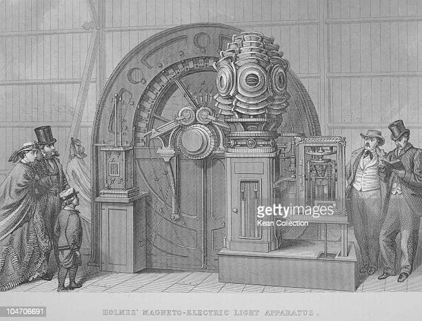 Illustration of Holmes' Magneto Electric Light Apparatus which was exhibited at the International Exhibition in 1862