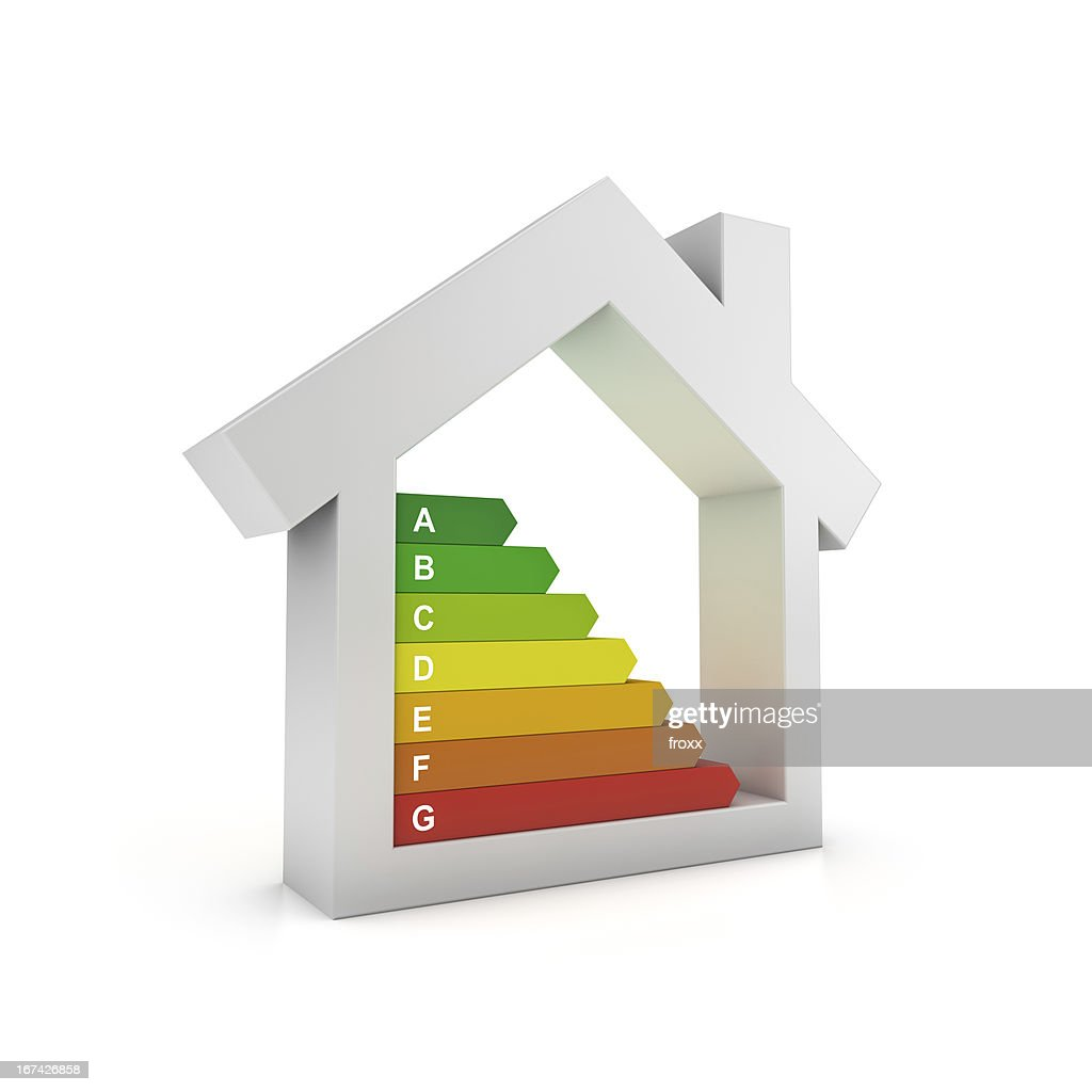 Illustration of house with colorful bars symbolizing energy : Stock Photo