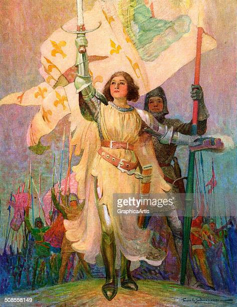 Illustration of Joan of Arc with raised sword by Frank E Schoonover 1918