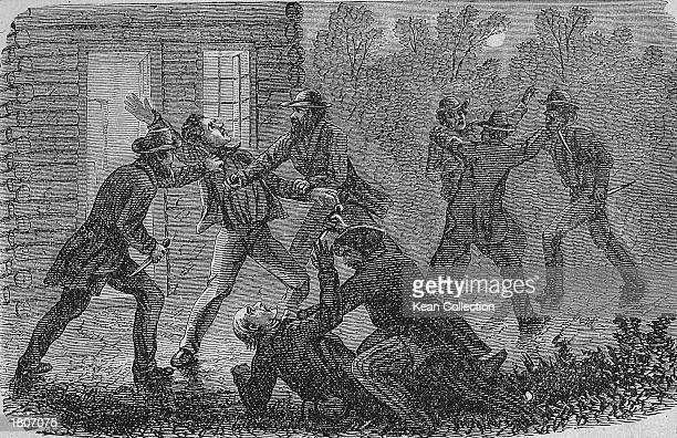 Illustration of John Brown leading a group of slaves and other followers in a a revolt against slaveowners the Doyle family Pottawamie Creek Kansas...
