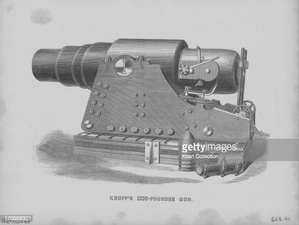 Illustration of large field artillery 'Krupp's 100pounder gun' made by the Krupp families munitions works Essen Germany