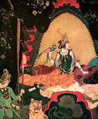 Illustration of Layla holding a bird in the palace from the Persian love story Layla and Majnun 1911 Screen print