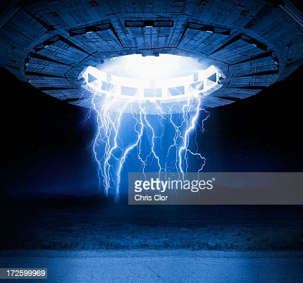 Illustration of lightning bolts and spaceship